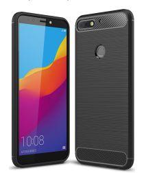 Huawei Y7 (2018) Geborsteld TPU Hoesje Zwart