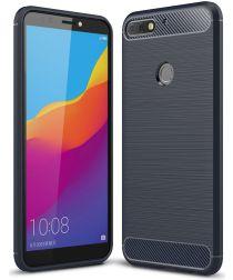 Huawei Y7 (2018) Geborsteld TPU Hoesje Blauw