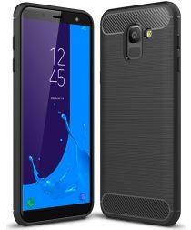 Samsung Galaxy J6 (2018) Geborsteld TPU Hoesje Zwart