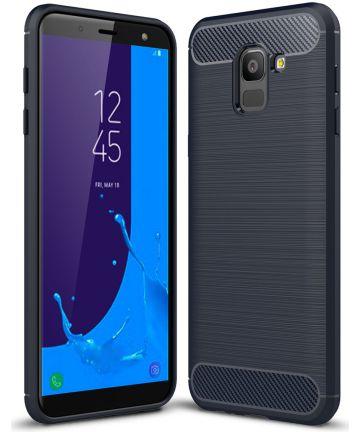 Samsung Galaxy J6 (2018) Geborsteld TPU Hoesje Blauw