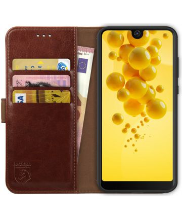 Rosso Element Wiko View 2 Hoesje Book Cover Bruin Hoesjes