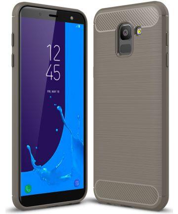 Samsung Galaxy J6 (2018) Geborsteld TPU Hoesje Grijs Hoesjes