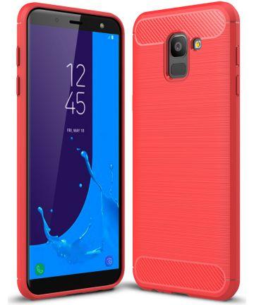 Samsung Galaxy J6 (2018) Geborsteld TPU Hoesje Rood