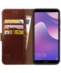 Rosso Element Huawei Y7 2018 Hoesje Book Cover Bruin