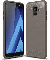 Samsung Galaxy A6 Geborsteld TPU Hoesje Grijs