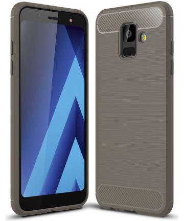 Samsung Galaxy A6 Geborsteld TPU Hoesje Grijs Hoesjes