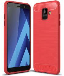 Samsung Galaxy A6 Geborsteld TPU Hoesje Rood