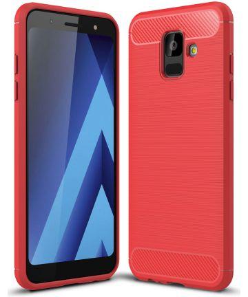 Samsung Galaxy A6 Geborsteld TPU Hoesje Rood Hoesjes