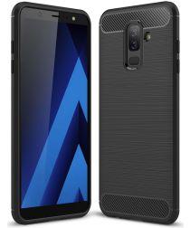 Samsung Galaxy A6 Plus Geborsteld TPU Hoesje Zwart
