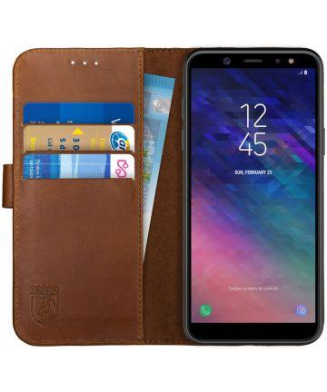 Rosso Deluxe Samsung Galaxy A6 Hoesje Echt Leer Book Case Bruin Hoesjes