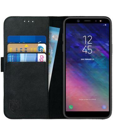 Rosso Deluxe Samsung Galaxy A6 Hoesje Echt Leer Book Case Zwart