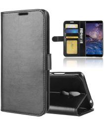Nokia 7 Plus Lederen Portemonnee Stand Hoesje Zwart