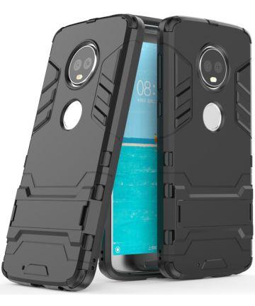 Motorola Moto G6 Plus Hybride Hoesje met Kickstand Zwart