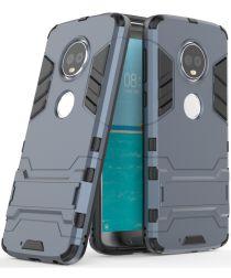 Motorola Moto G6 Plus Hybride Hoesje met Kickstand Blauw