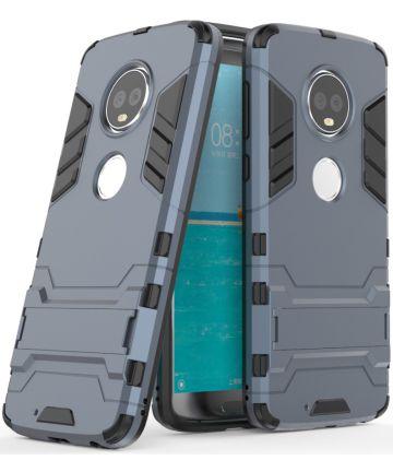 Motorola Moto G6 Plus Hybride Hoesje met Kickstand Blauw Hoesjes