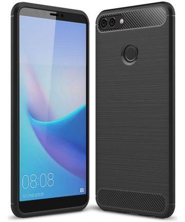 Huawei Y9 (2018) Geborsteld TPU Hoesje Zwart