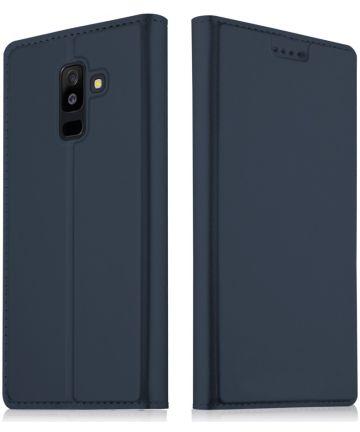 Samsung Galaxy A6 Plus Premium Hoesje met Kaarthouder Blauw