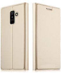 Samsung Galaxy A6 Premium Hoesje met Kaarthouder Goud