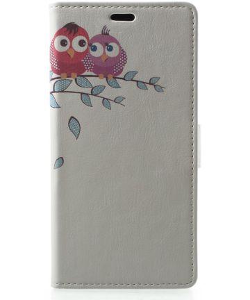 Samsung Galaxy A6 Lederen Portemonnee Hoesje met Cute Owls Print Hoesjes