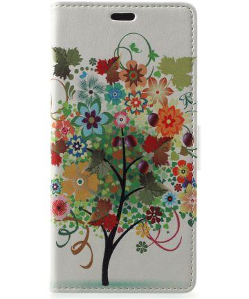 Samsung Galaxy A6 Lederen Portemonnee Hoesje met Tree Print