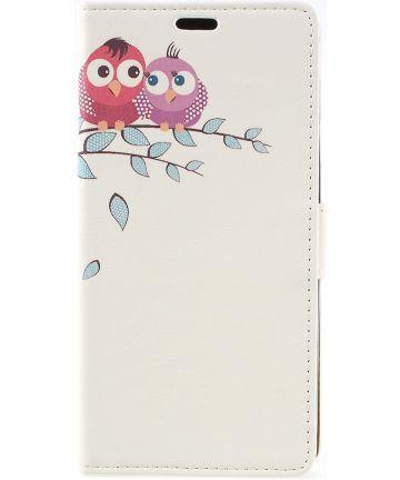 Samsung Galaxy J6 2018 Lederen Portemonnee Hoesje met Cute Owls Print