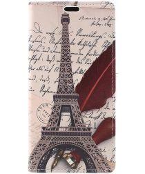Samsung Galaxy J6 (2018) Lederen Portemonnee Hoesje Eiffeltoren Print