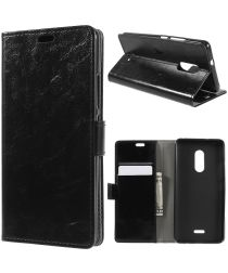 Alcatel 3C Lederen Wallet Stand Hoesje Zwart