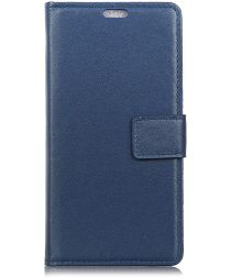 Samsung Galaxy A6 Lederen Wallet Stand Hoesje Blauw