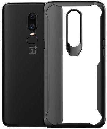 OnePlus 6 Hybride Back Cover Hoesje Transparant / Zwart