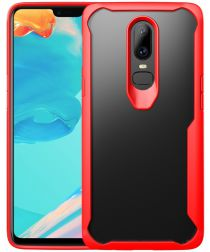 OnePlus 6 Hybride Back Cover Hoesje Transparant / Rood