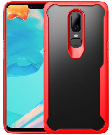 OnePlus 6 Hybride Back Cover Hoesje Transparant / Rood Hoesjes