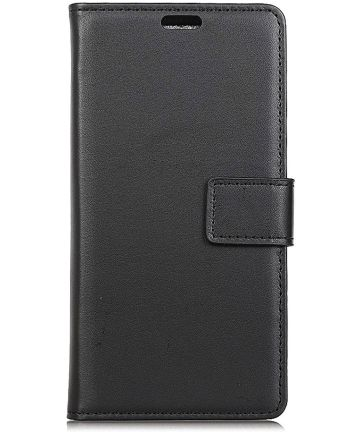 Samsung Galaxy A6 Plus Lederen Wallet Stand Hoesje Zwart