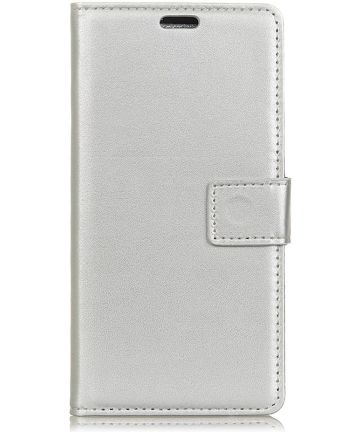 OnePlus 6 Lederen Wallet Stand Hoesje Zilver