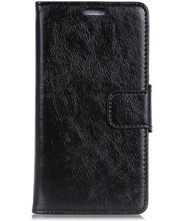 OnePlus 6 Split Lederen Portemonnee Hoesje Zwart