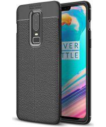 OnePlus 6 Hoesje Back Cover met Lederen Texuur Zwart