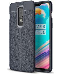 OnePlus 6 Hoesje Back Cover met Lederen Texuur Blauw