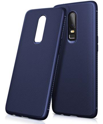 OnePlus 6 Twill slim texture backcover blauw