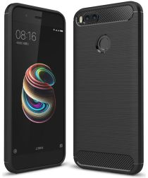 Xiaomi Mi A1 geborsteld TPU Hoesje Zwart