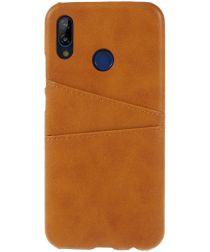 Huawei P20 Lite Back Cover met Lederen Coating Bruin