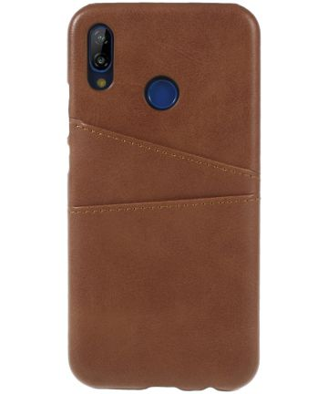 Huawei P20 Lite Back Cover met Lederen Coating Coffee Hoesjes