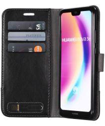 Huawei P20 Lite Linnen Portemonnee Hoesje Zwart