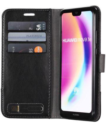 Huawei P20 Lite Linnen Portemonnee Hoesje Zwart Hoesjes