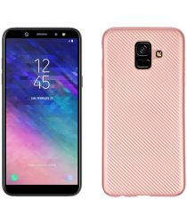Samsung Galaxy A6 Carbon TPU Hoesje Roze Goud
