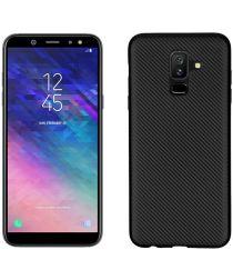 Samsung Galaxy A6 Plus Carbon TPU Hoesje Zwart