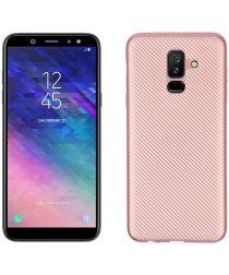 Samsung Galaxy A6 Plus Carbon TPU Hoesje Roze Goud