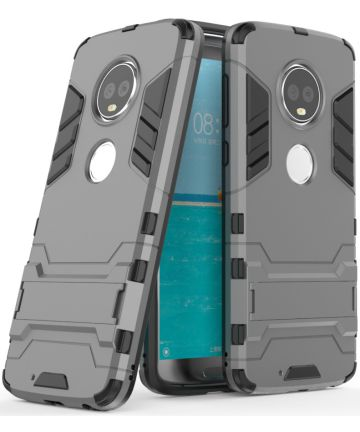Motorola Moto G6 Plus Hybride Hoesje met Kickstand Grijs Hoesjes