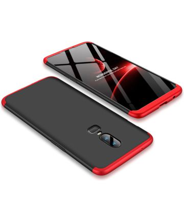OnePlus 6 Matte Back Cover Zwart Rood Hoesjes
