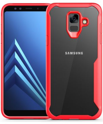 Samsung Galaxy A6 Hybride Transparant Hoesje Rood