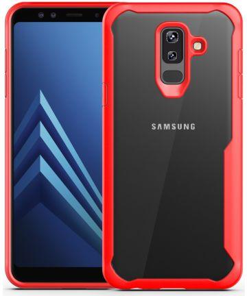Samsung Galaxy A6 Plus Hybride Transparant Hoesje Rood Hoesjes