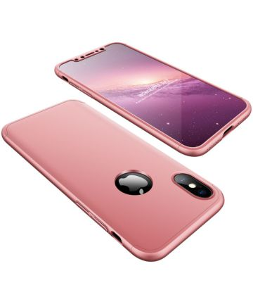 Apple iPhone X / XS Dunne Back Cover met Tempered Glass Roze Goud